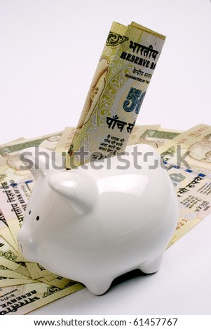 saving money,indian currency with piggy bank, saving concept - stock photo