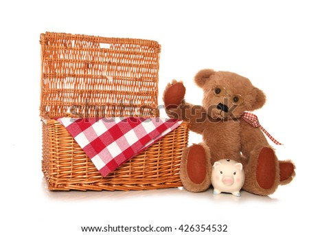 saving money on a teddy bears picnic party cutout - stock photo