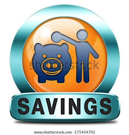 saving money orange icon in piggy bank deposit account with savings plan save cash online banking - stock photo