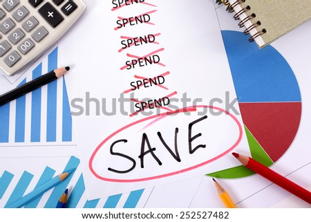 Saving money plan : spend or save concept.