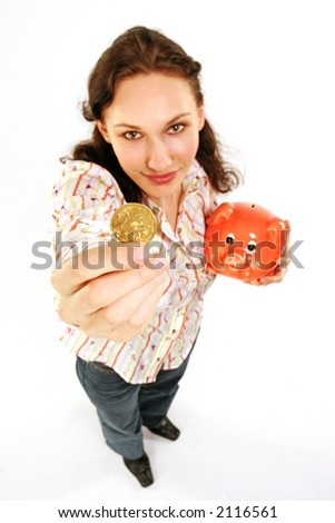 saving money-young woman with  a coin and a red money-box