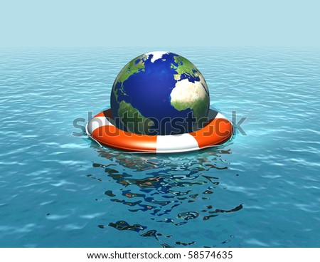 Saving the planet_rising sea levels - stock photo