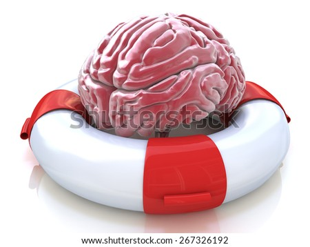 Saving your brain and preserving memory and neurological function as a lifesaver in the ocean - saving the human thinking organ as a health care and medical concept for cognitive therapy - stock photo