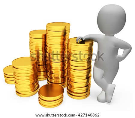 Savings Coins Meaning Saver Profit And Earn 3d Rendering - stock photo