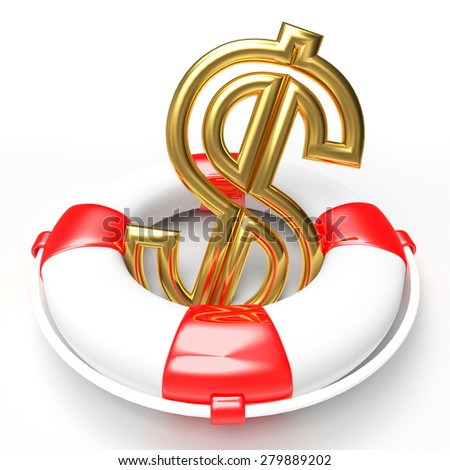 Savings concept. Lifebuoy with Dollar Sign isolated on white background  - stock photo