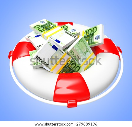 Savings concept. Lifebuoy with pile of Euro on blue background  - stock photo