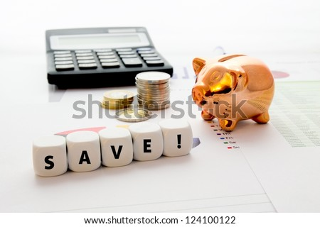 Savings concept on colorful business background - stock photo