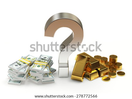 Savings concept. Piles of dollar bills and golden bars with question mark isolated on white background - stock photo