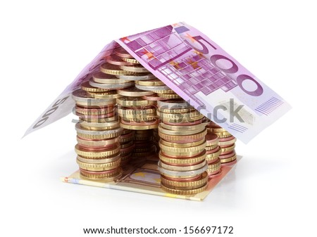 Savings for real estate project -roof five hundred euro - stock photo