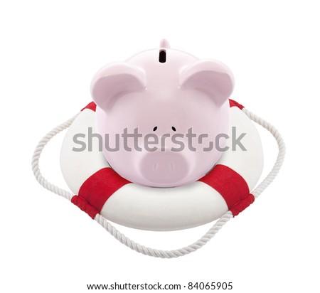 Savings help. Piggy bank with Lifebuoy - stock photo