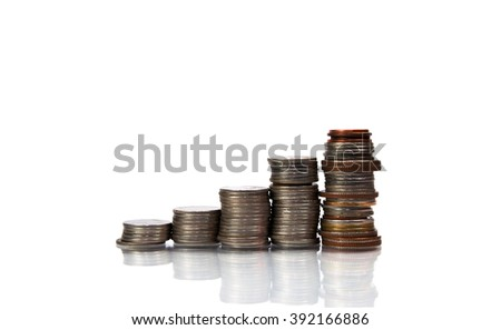 Savings, increasing columns coins isolated on white background - stock photo