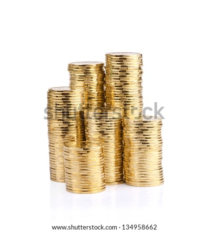 Savings, increasing columns of gold coins isolated on white background. - stock photo