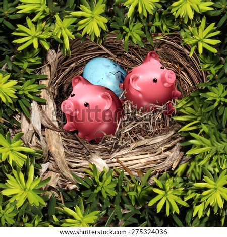 Savings nest and secure investment financial concept as a group of pink piggy banks and a bird egg in a safe tree refuge as a wealth and retirement fund symbol. - stock photo