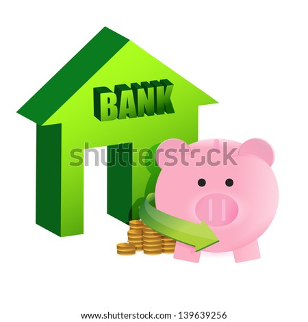 savings on the bank illustration design over a white background