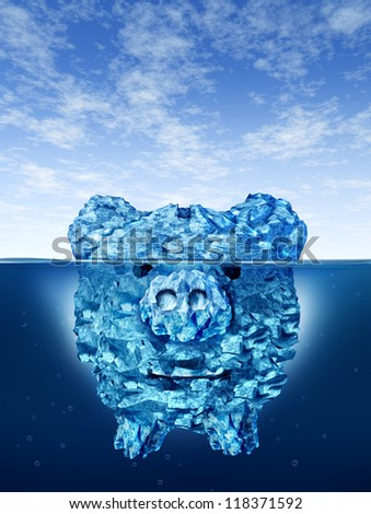 Savings risk and investing money dangers and hazards with an iceberg in the shape of a piggy bank hidden in deceptive hazardous ice in cold arctic water with a small part of a mountain above the sea. - stock photo