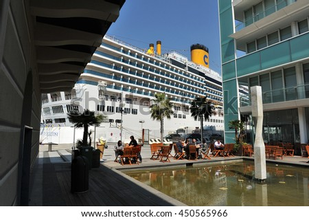 SAVONA, ITALY - April 21, 2011: Cruise ship in the center of the city
