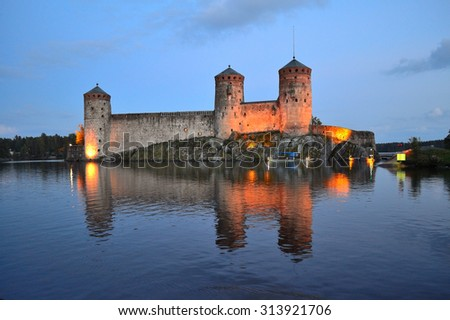 Savonlinna, Eastern Finland. Fortress Olavinlinna at night