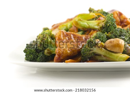Savory sauteed mixed chinese vegetables with crispy fried tofu