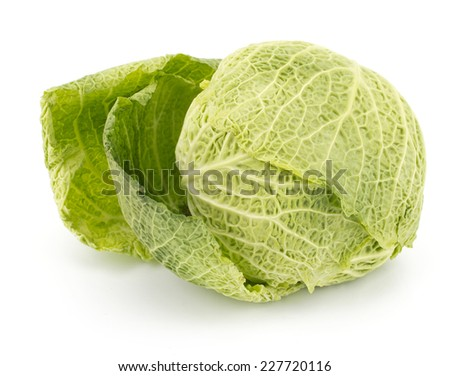 Savoy Cabbage Isolated on White Background - stock photo