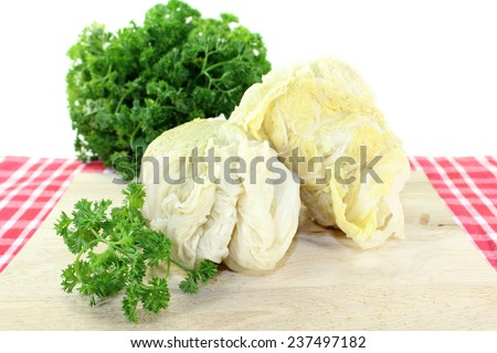 Savoy cabbage roulade with parsley against white background - stock photo