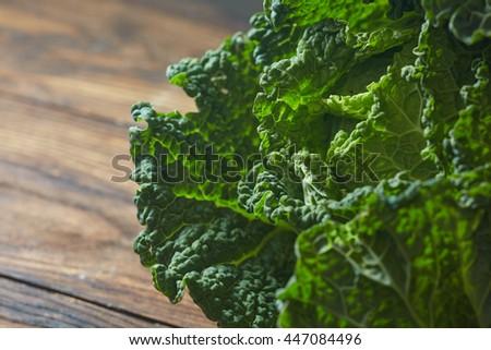 Savoy cabbage super food close up - stock photo