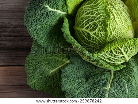 Savoy cabbage super food close up. Top view - stock photo