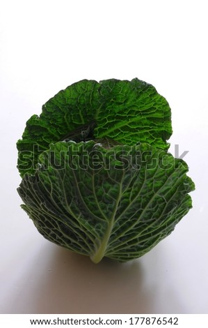 savoy cabbage with big ambient leaves - stock photo