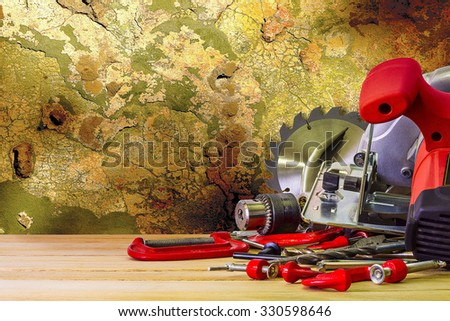 Saw and other hand tools - stock photo