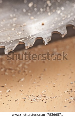 Saw and wood board - stock photo