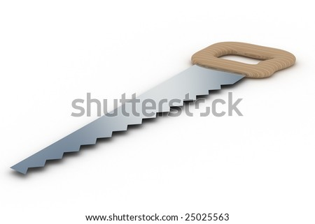 Saw on a white background. Tool. Isolated 3D image - stock photo