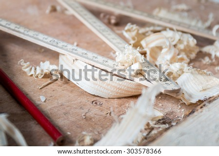 sawdust, wood and pencil - stock photo