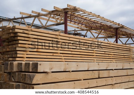 sawmill, wood processing, timber drying, timber harvesting, drying boards, baulk, lumber-mill, wood products industry, production of forest products, enterprises for the primary processing of wood   - stock photo