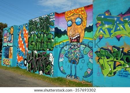 SAWTELL, AUSTRALIA, December 29, 2015: Street art on a wall in Sawtell, New South Wales - stock photo