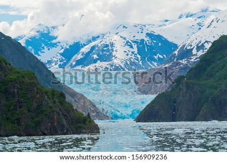 Sawyer Glacier sits at the tip of Tracy Arm Fjord, Alaska - stock photo