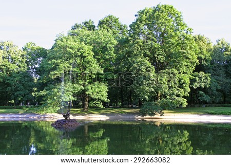 Saxon Garden (Polish: Ogrod Saski) - public park in the city center of Warsaw, Poland - stock photo
