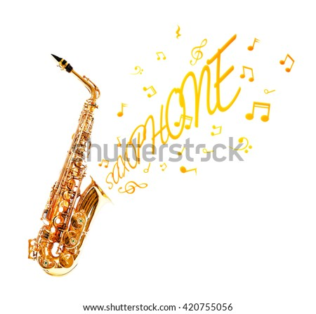 Saxophone and notes coming out isolated on white - stock photo