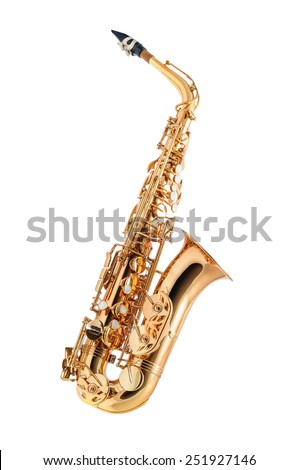 Saxophone -  Golden alto saxophone classical instrument isolated on white - stock photo