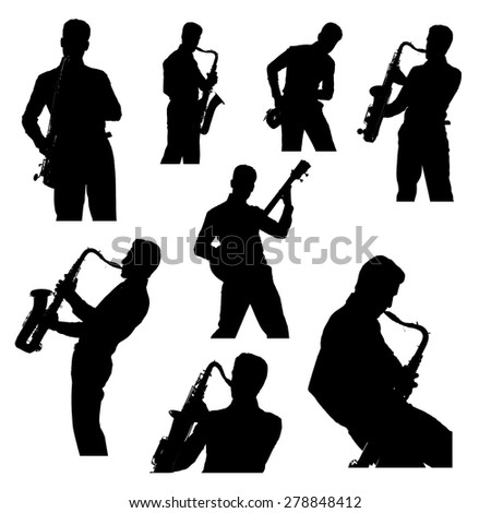 Saxophone, guitar player silhouette, set isolated on white background - stock photo