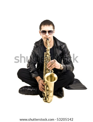 saxophone player entranced into his own tunes