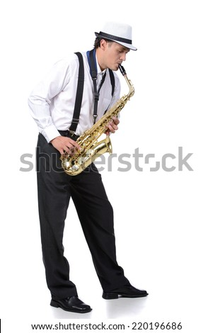 Saxophone player in white shirt. Isolated on white background