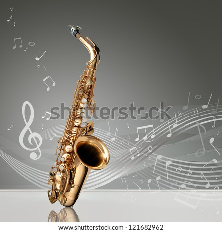 Saxophone with musical notes in an empty room, copy space ready - stock photo