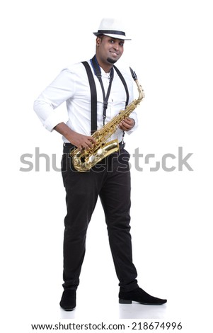 Saxophonist black men in white shirt. Isolated on white background - stock photo