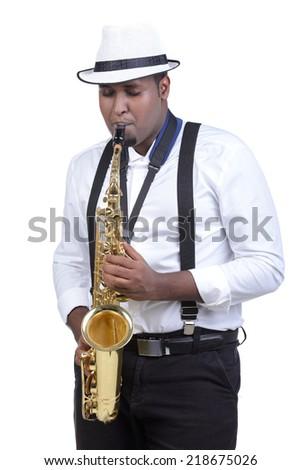 Saxophonist black men in white shirt. Isolated on white background - stock photo