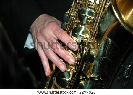 Saxophonist playing his instrument