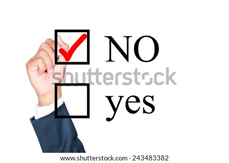 say no tick mark on check box by businessman draw on whiteboard white background - stock photo