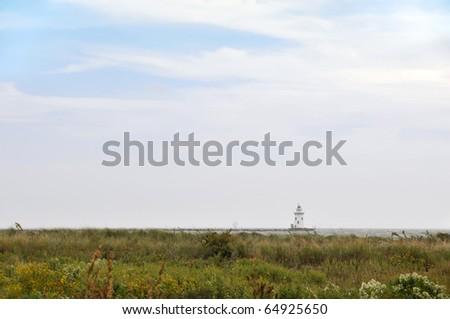 Saybrook Breakwater Light, Old Saybrook, CT Horizontal with Copy Space - stock photo