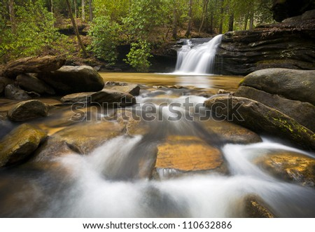 SC Waterfall Landscape Photography Blue Ridge Mountains Relaxing Nature image with peaceful flowing water - stock photo