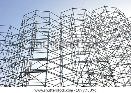Scaffolding as safety equipment on a construction site. - stock photo