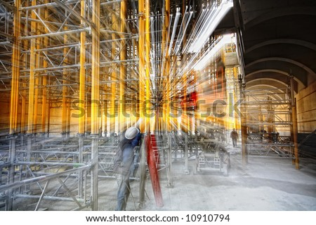 scaffolding at a building site - stock photo