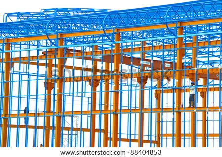 scaffolding at a bullding site of a concrete construction - stock photo